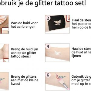 glitter tattoo set instructies